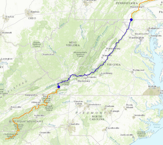 Jon Young's path on the Appalachian Trail