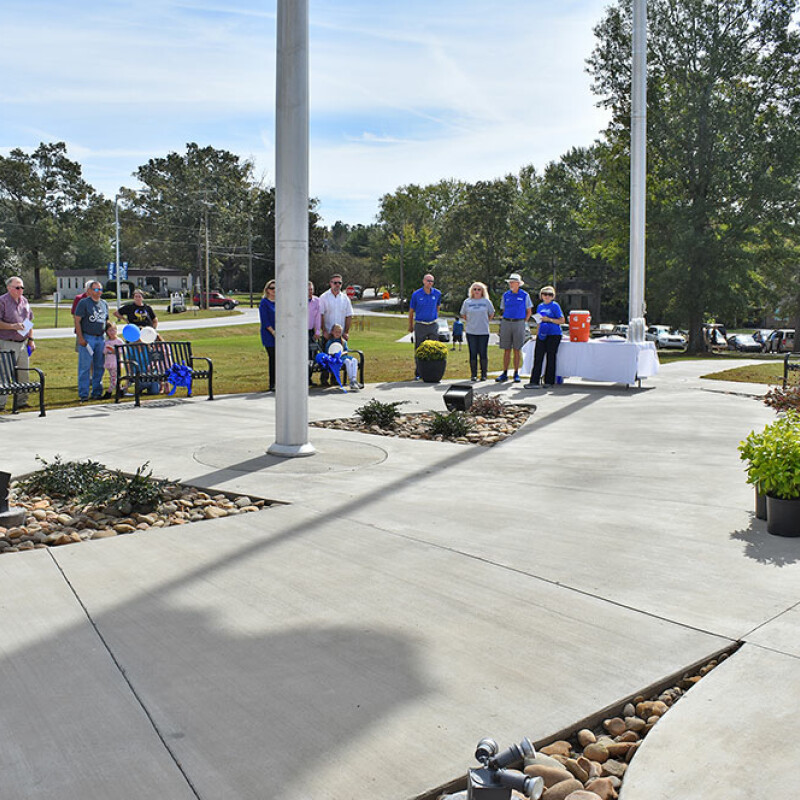 Four benches dedicated at Sheriff National Guard Memorial Flag Plaza